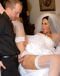 Jayden James gets nervous before her wedding, theirs only one way to calm down, she fucks the priest.