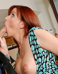 Hot redhead takes advantage of her friend's husband's cock.
